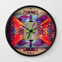 mandala Wall Clocks featuring Mandala by Aaron Carberry