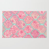 moroccan Area & Throw Rugs featuring Moroccan Floral Lattice Arrangement in Pinks by micklyn