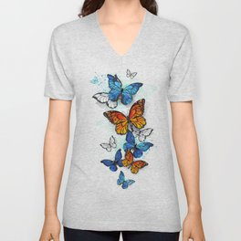 Flying Butterflies Morpho and Monarch Unisex V-Neck