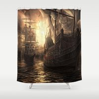 ships Shower Curtains featuring Ships Out to Sea by Madreflections