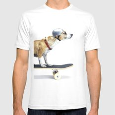 Skate Punk - Skateboarding Chihuahua Dog inTiny Helmet MEDIUM Mens Fitted Tee White