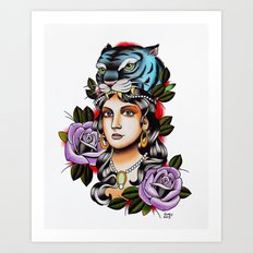 PaperTigress girl with tiger head - tattoo Art Print