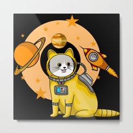 Cute cartoon cat astronaut in space with rocket Metal Print