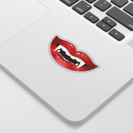 Vampire Mouth Illustration With Red Lips And Fangs Sticker