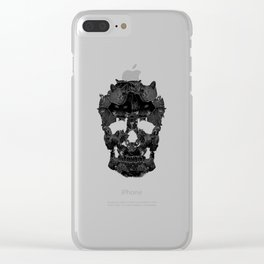 Sketchy Cat skull Clear iPhone Case