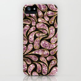 Gold Amethyst Paisley pattern iPhone Case