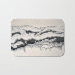 Black White Modern Striped Abstract Fluid Painting Noir Bath Mat