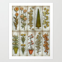 Flowers and Shrub Art Print