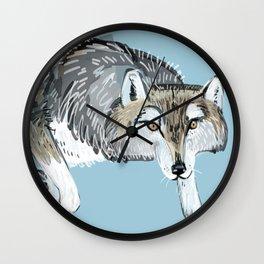 Totem Hokkaido grey wolf (Blue) Wall Clock