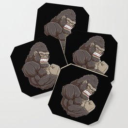 Gorilla At The Gym   Fitness Training Muscles Coaster