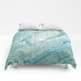 """Aquamarine Pastel and Teal Agate Crystal"" Comforters"