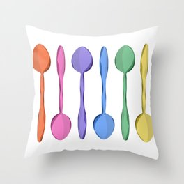 Rainbow Spoons Throw Pillow