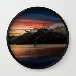 Lake Sunset Snowdonia Wall Clock