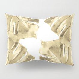 Gold Monstera Leaves on White Pillow Sham