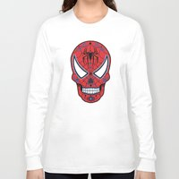 superheros Long Sleeve T-shirts featuring Spidey Sugar Skull by Clark Street Press