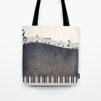 piano Tote Bags featuring Piano by Gosia