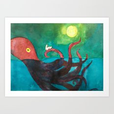 Octopus and Rabbit Art Print