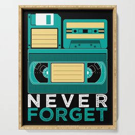 Never Forget | Retro VHS Cassette Tape Floppy Disk Serving Tray