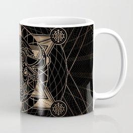 Bull in Sacred Geometry - Black and Gold Coffee Mug