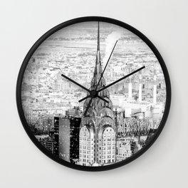 Snow - New York City - Chrysler Building Wall Clock