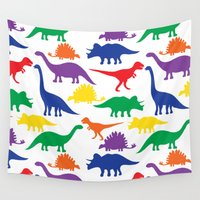 dinosaurs Wall Tapestries featuring Dinosaurs - White by Susanna Jane