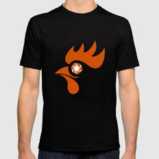 Rooster Eye Shutter Retro MEDIUM Black Mens Fitted Tee