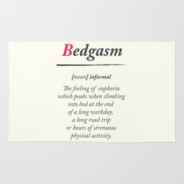Bedgasm, dictionary definition, word meaning illustration, chill out, relax, sex, bed orgasm Rug