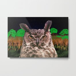 The Owlbserver In The Forest Metal Print