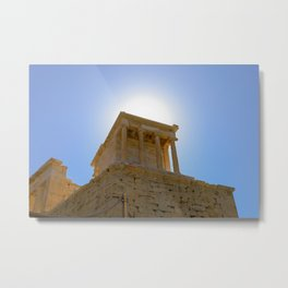 The Temple of Athena on the Acropolis Hill in Athens, Greece Metal Print