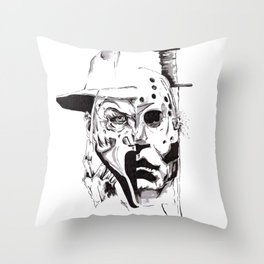 80's Horror Icons Inktober Drawing Throw Pillow