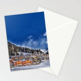 Winter Village Landscape Stationery Cards