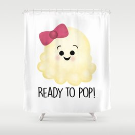 Ready To Pop - Popcorn Pink Bow Shower Curtain