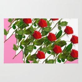 RED LONG STEMMED ROSES & PINK COLOR Rug