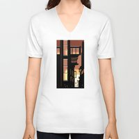 cityscape V-neck T-shirts featuring Sunrise Cityscape by Andrew Formosa