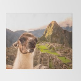 Llama #selfie Throw Blanket