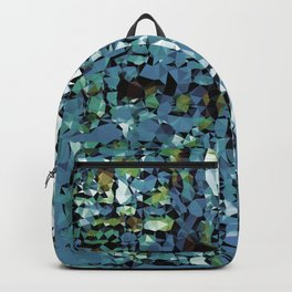 Blue Green Abstract Geometric Low Poly Modern Art Backpack