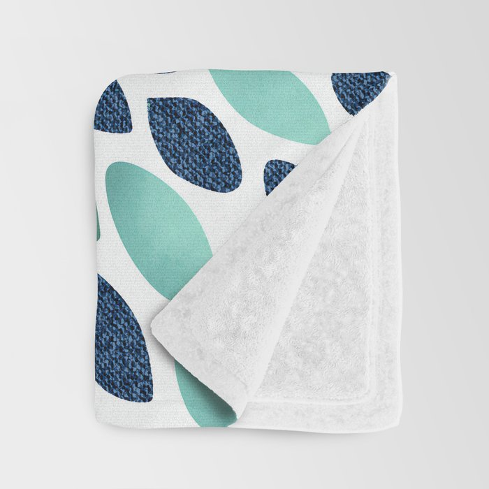 Flower Bloom, Aqua and Navy Throw Blanket