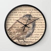 waldo Wall Clocks featuring Ralph Waldo Emerson Bird by Wendy Roscoe Designs
