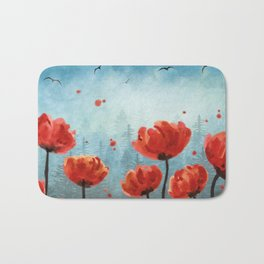 Poppy flowers - Misty Forest Bath Mat