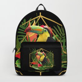 Bold Golden Geometric Tropical Bouquet With Toucan Backpack