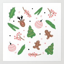 Christmas pattern in pink Art Print