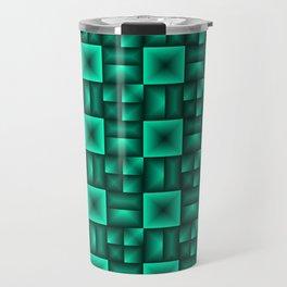 Volumetric pattern of convex squares with light blue mosaic rectangular highlights and tiles. Travel Mug