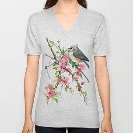 Titmouse and Cherry Blossom, birds and flowers design artwork Unisex V-Neck
