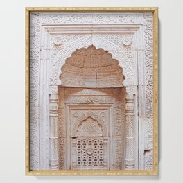 Qutub (Qutb) Minar, Intricately Carved Minaret Temple Wall in India - Sacred Archiecture Serving Tray