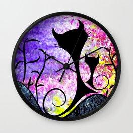 Messemios - black cats Wall Clock