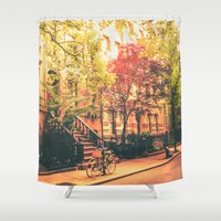 new york city Shower Curtains featuring New York City by Vivienne Gucwa