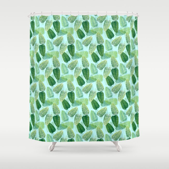 Summer Leaves - Blue Background Shower Curtain