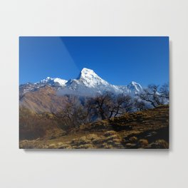 Panoramic View Of Annapurna Ghorepani Poon Hill Metal Print