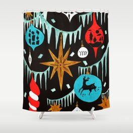 Mid Century Modern Christmas Tree Shower Curtain