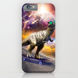 Dinosaur With Sunglasses On Skateboard In Space iPhone Case